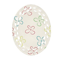 Flower Background Nature Floral Oval Filigree Ornament (two Sides) by Simbadda