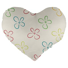 Flower Background Nature Floral Large 19  Premium Flano Heart Shape Cushions by Simbadda