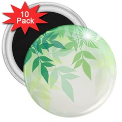 Spring Leaves Nature Light 3  Magnets (10 Pack)  by Simbadda