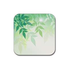 Spring Leaves Nature Light Rubber Square Coaster (4 Pack)  by Simbadda