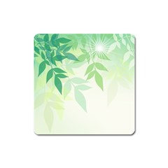Spring Leaves Nature Light Square Magnet by Simbadda