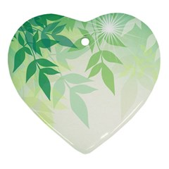 Spring Leaves Nature Light Heart Ornament (two Sides) by Simbadda