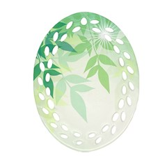 Spring Leaves Nature Light Ornament (oval Filigree) by Simbadda