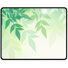 Spring Leaves Nature Light Double Sided Fleece Blanket (medium)  by Simbadda