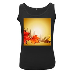 Background Leaves Dry Leaf Nature Women s Black Tank Top