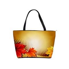 Background Leaves Dry Leaf Nature Shoulder Handbags by Simbadda