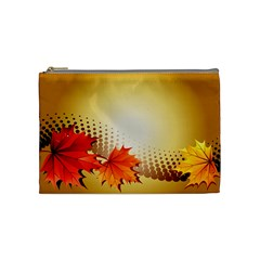 Background Leaves Dry Leaf Nature Cosmetic Bag (medium)  by Simbadda