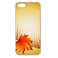 Background Leaves Dry Leaf Nature Apple Seamless Iphone 5 Case (clear) by Simbadda