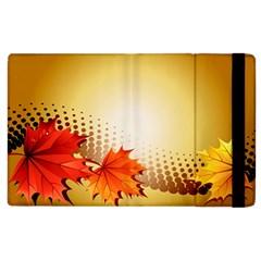 Background Leaves Dry Leaf Nature Apple iPad 3/4 Flip Case by Simbadda
