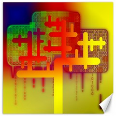 Binary Binary Code Binary System Canvas 16  X 16   by Simbadda