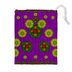 Buddha Blessings Fantasy Drawstring Pouches (extra Large) by pepitasart