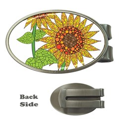 Sunflowers Flower Bloom Nature Money Clips (oval)  by Simbadda