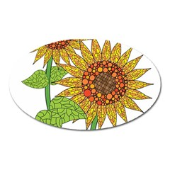 Sunflowers Flower Bloom Nature Oval Magnet by Simbadda