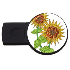 Sunflowers Flower Bloom Nature Usb Flash Drive Round (2 Gb) by Simbadda