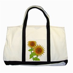 Sunflowers Flower Bloom Nature Two Tone Tote Bag by Simbadda