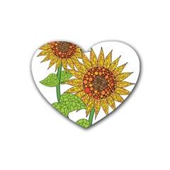 Sunflowers Flower Bloom Nature Heart Coaster (4 Pack)  by Simbadda