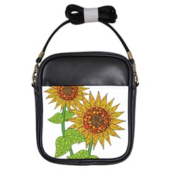 Sunflowers Flower Bloom Nature Girls Sling Bags by Simbadda