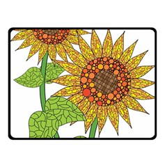 Sunflowers Flower Bloom Nature Fleece Blanket (small) by Simbadda