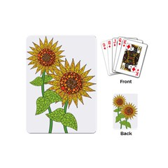 Sunflowers Flower Bloom Nature Playing Cards (mini)  by Simbadda