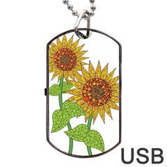 Sunflowers Flower Bloom Nature Dog Tag Usb Flash (two Sides) by Simbadda