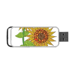 Sunflowers Flower Bloom Nature Portable Usb Flash (one Side) by Simbadda