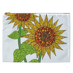 Sunflowers Flower Bloom Nature Cosmetic Bag (xxl)  by Simbadda
