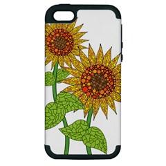 Sunflowers Flower Bloom Nature Apple Iphone 5 Hardshell Case (pc+silicone) by Simbadda