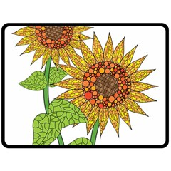 Sunflowers Flower Bloom Nature Double Sided Fleece Blanket (large)  by Simbadda