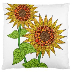 Sunflowers Flower Bloom Nature Large Flano Cushion Case (two Sides) by Simbadda