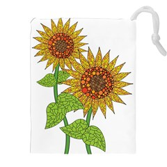 Sunflowers Flower Bloom Nature Drawstring Pouches (xxl) by Simbadda