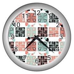 Mint Black Coral Heart Paisley Wall Clocks (silver)  by Simbadda