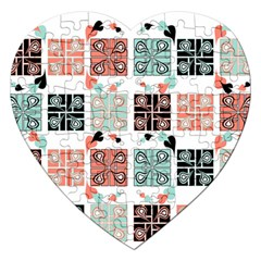 Mint Black Coral Heart Paisley Jigsaw Puzzle (heart) by Simbadda