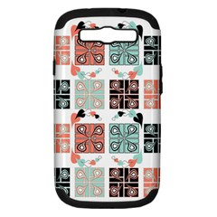 Mint Black Coral Heart Paisley Samsung Galaxy S Iii Hardshell Case (pc+silicone) by Simbadda