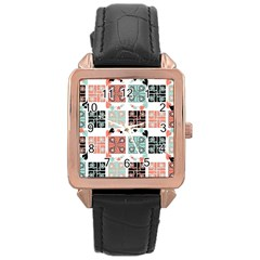 Mint Black Coral Heart Paisley Rose Gold Leather Watch  by Simbadda
