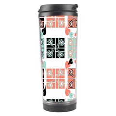 Mint Black Coral Heart Paisley Travel Tumbler by Simbadda