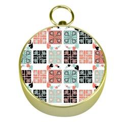 Mint Black Coral Heart Paisley Gold Compasses by Simbadda
