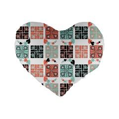 Mint Black Coral Heart Paisley Standard 16  Premium Flano Heart Shape Cushions by Simbadda