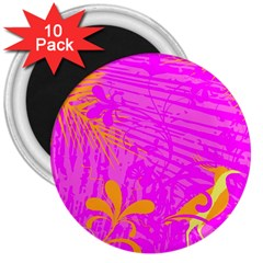 Spring Tropical Floral Palm Bird 3  Magnets (10 Pack)  by Simbadda