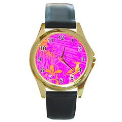 Spring Tropical Floral Palm Bird Round Gold Metal Watch by Simbadda