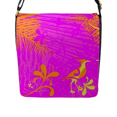 Spring Tropical Floral Palm Bird Flap Messenger Bag (l)  by Simbadda
