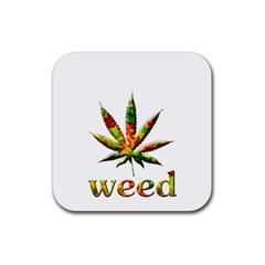 Marijuana Leaf Bright Graphic Rubber Square Coaster (4 Pack)  by Simbadda