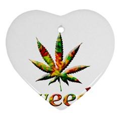 Marijuana Leaf Bright Graphic Heart Ornament (two Sides) by Simbadda
