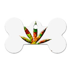 Marijuana Leaf Bright Graphic Dog Tag Bone (Two Sides)