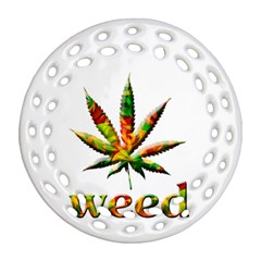 Marijuana Leaf Bright Graphic Round Filigree Ornament (two Sides) by Simbadda