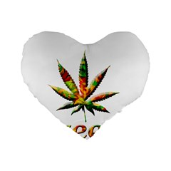 Marijuana Leaf Bright Graphic Standard 16  Premium Heart Shape Cushions by Simbadda