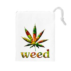 Marijuana Leaf Bright Graphic Drawstring Pouches (large)  by Simbadda