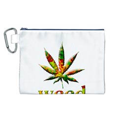 Marijuana Leaf Bright Graphic Canvas Cosmetic Bag (l) by Simbadda