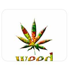 Marijuana Leaf Bright Graphic Double Sided Flano Blanket (medium)  by Simbadda