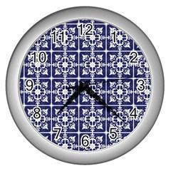 Leaves Horizontal Grey Urban Wall Clocks (silver)  by Simbadda
