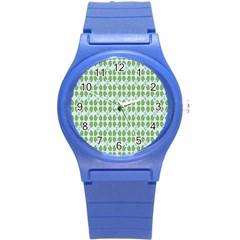 Leaf Flower Floral Green Round Plastic Sport Watch (s) by Alisyart
